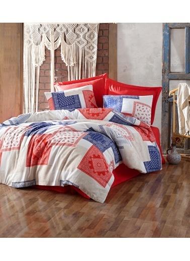Eponj Home Ekonomix Nevresim Takımı Çift Kişilik Alanzo Kırmızı-laci Lacivert